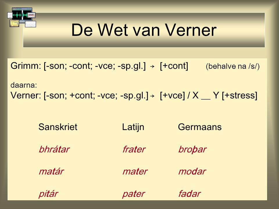 De Wet van Verner Grimm: [-son; -cont; -vce; -sp.gl.] → [+cont] (behalve na /s/) daarna: